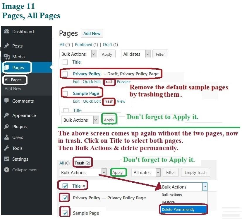 Delete Page Defaults